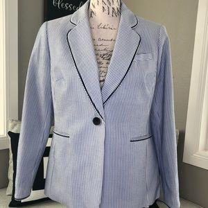 Biden Blue and White Lined Blazer
